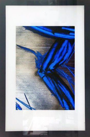 Masculine Print on Glass with Cool Colour Tones By Adelaide Artist Sarah Jane with White and Black Border - Faceless III