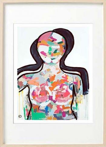modern abstract figurative fine art print colourful woman - sarah jane art titled love generation i in birch effect frame