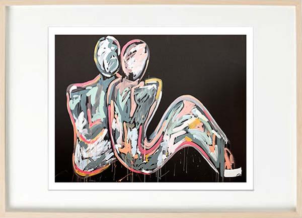 modern abstract fiurative fine art print couple energetic - Sarah Jane Art Lovers Crush I in birch effect frame