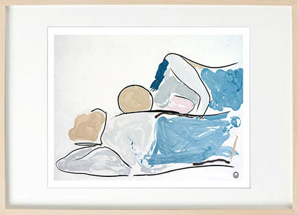 modern abstract figurative fine art print couple lying down - sarah jane art titled bodyline vi in a birch effect frame