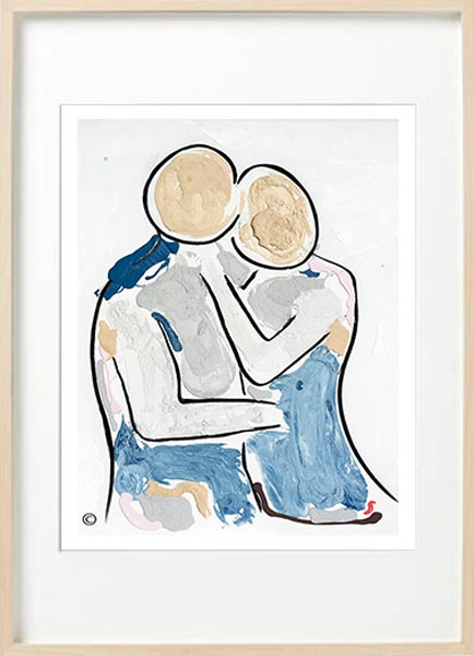 modern abstract figurative fine art print couple man about to kiss woman - sarah jane art titled bodyline viii in birch effect frame