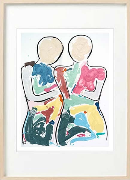 modern abstract fiurative fine art print couple side by side - sarah jane art titled bodyline bold i in birch effect frame