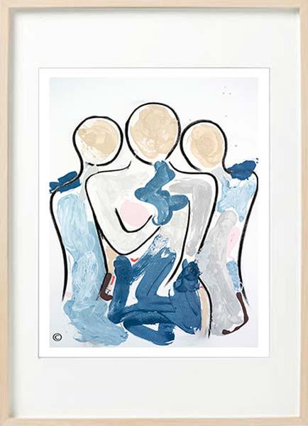modern abstract figurative fine art print mother kids - sarah jane art titled bodyline xi in birch effect frame