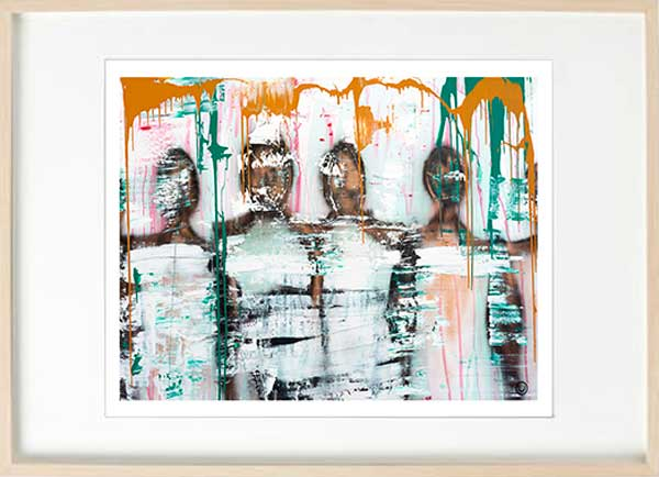 modern abstract figurative fine art print people standing together - sarah jane art titled united we stand i in birch effect frame