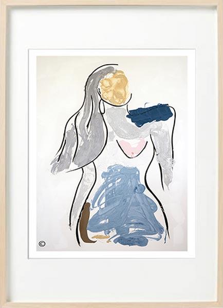 modern abstract figurative fine art print confident woman - sarah jane art titled bodyline v in birch effect frame