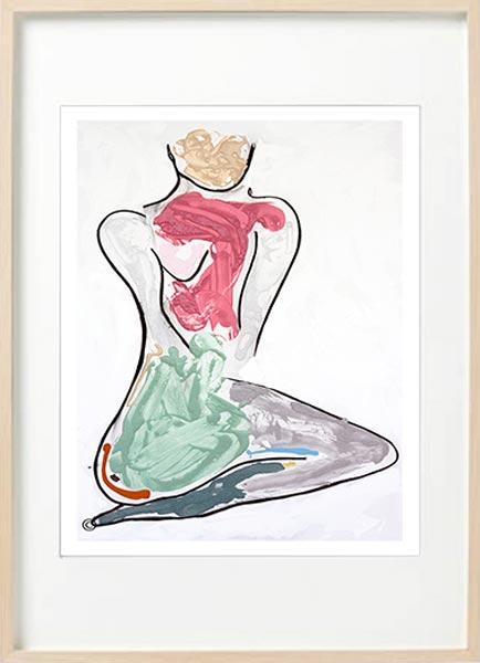 modern abstract figurative fine art print woman kneeling - sarah jane art titled bodyline bold iii in birch effect frame