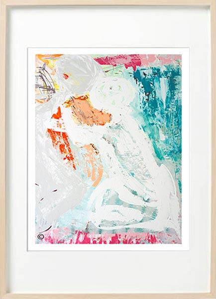 Modern Abstract Fine Art Print Couple - Sarah Jane Art - Reaching Out I - Birch effect frame