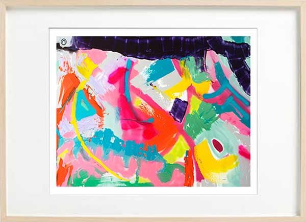 modern abstract fine art print with bright colours - sarah jane art titled colour me happy i in a birch effect frame