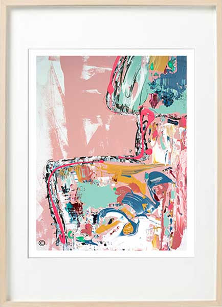 Modern Abstract Fine Art Print bright colours woman - Sarah Jane Art - no nonsense i - Birch effect frame