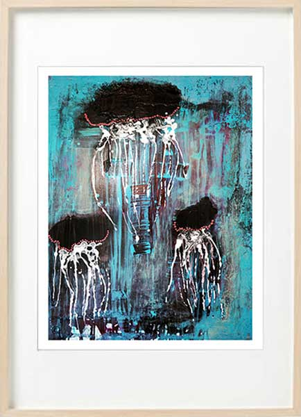 modern abstract fine art print jellyfish - sarah jane art titled jellyfish i in a birch effect frame