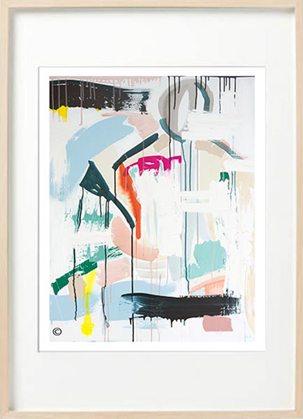 modern abstract fine art print with soft colours - sarah jane art titled reengage iia in birch effect frame