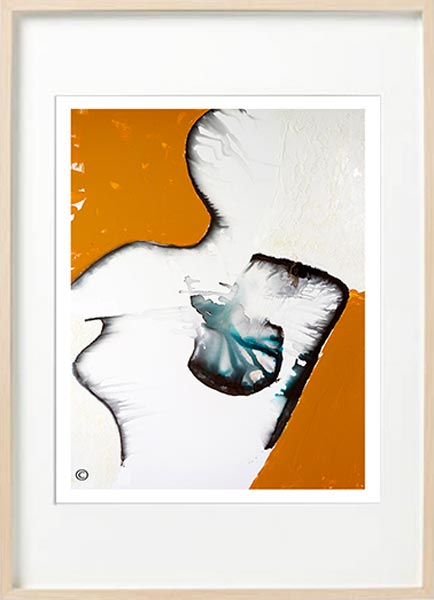 modern abstract fine art print woman - Sarah Jane Art Titled Silhouette U in Birch Frame