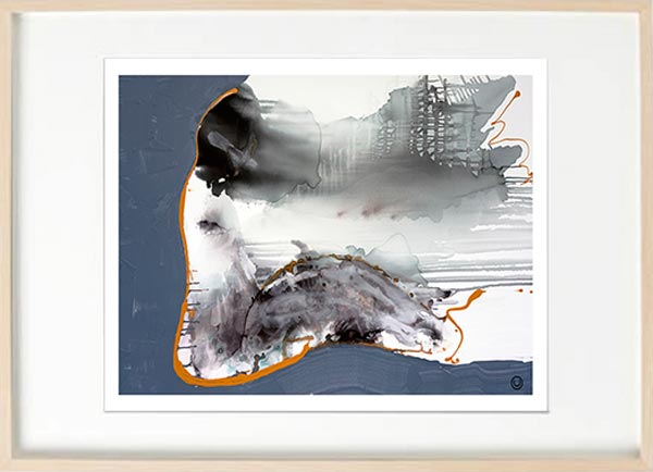 modern abstract fine art print woman sitting navy and grey tones - sarah jane art titled wind of change i in birch effect frame