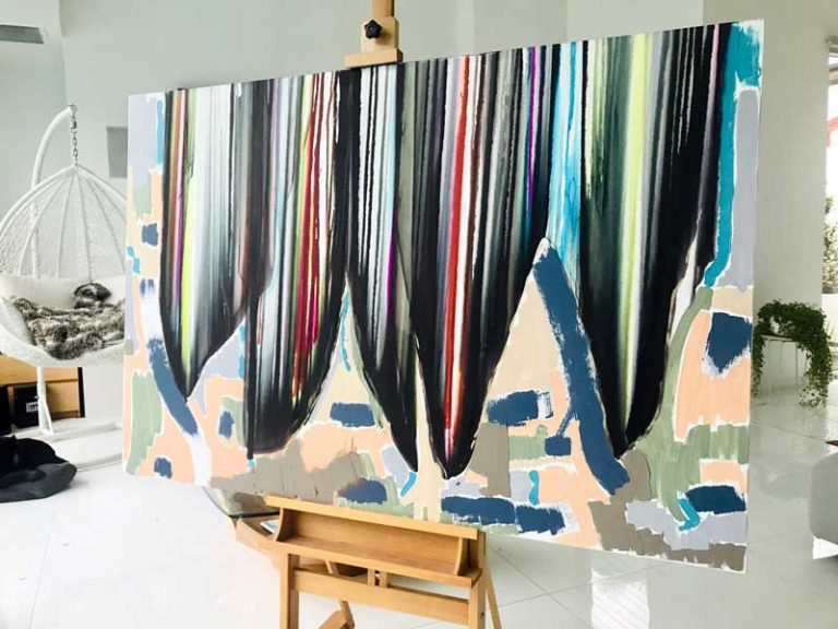 Colourful Modern Abstract Painting Whales Oceanlife