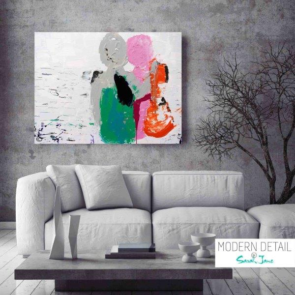 Modern Abstract Painting couple beach by Artist Sarah Jane called Relax - MODERN DETAIL BY SARAH JANE