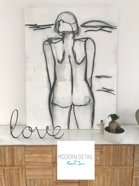 Modern Abstract Painting on canvas of a woman in a bikini standing in the ocean By Australian Artist Sarah Jane and titled Linear III