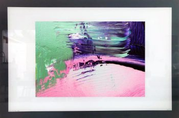 Modern Abstract Print on Glass By Sarah Jane with White and Black Border - Colour me Happy IX
