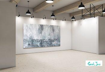modern art gallery displaying huge ocean painting titled storm by artist sarah jane from adelaide