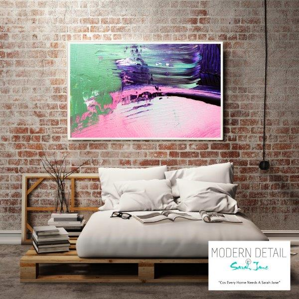 Modern Art Print for the bedroom on glass By Sarah Jane - Colour me Happy IX