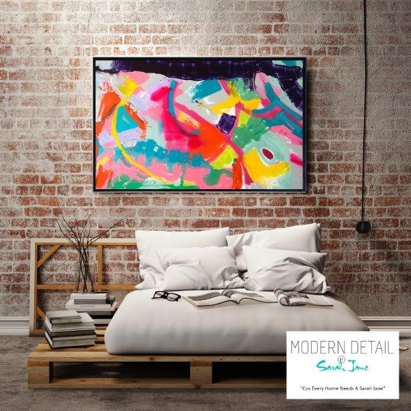 Modern Art for the bedroom By Sarah Jane - Colour me Happy I