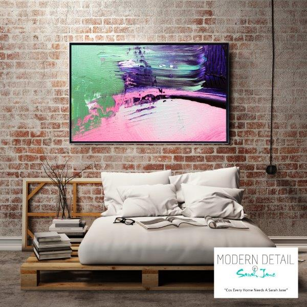 Modern Art for the bedroom on glass By Sarah Jane - Colour me Happy IX