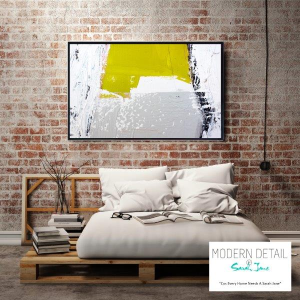 Modern Art in yellow and Grey for the bedroom By Sarah Jane - Cozzie Va