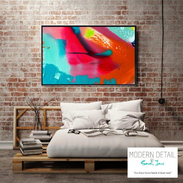 Modern Art with bright colour tones for the bedroom By Sarah Jane - Colour me Happy V