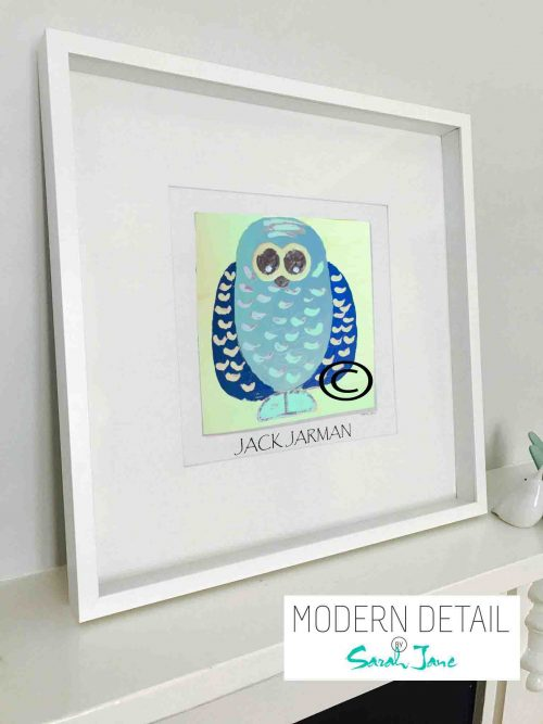 Framed Childrens Print of an Owl for a Boys Bedroom By Australian Artist Sarah Jane from Modern Detail By Sarah Jane