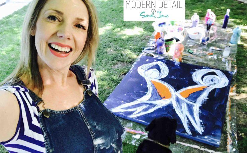 "Modern Art By Abstract Artist Sarah Jane – Original Painting ""Playful Pair"""