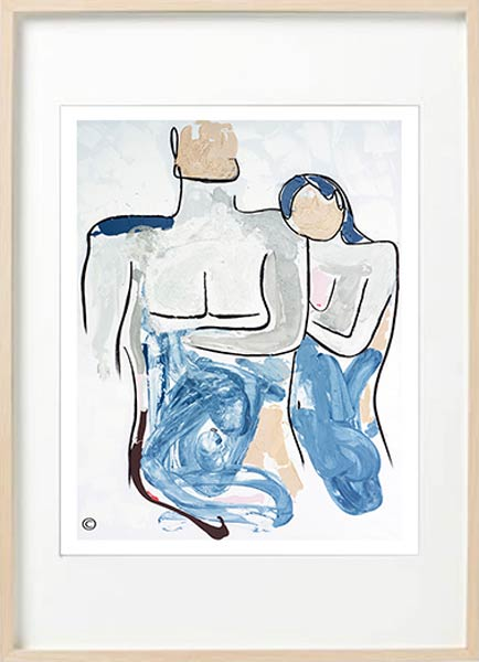 modern figurative fine art print couple - woman resting head on man - sarah jane art titled bodyline iv in a birch effect frame