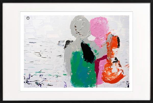 Modern Fine Art Print Couple Sitting Beach colourful - Sarah Jane Artist - Relax I - Black frame