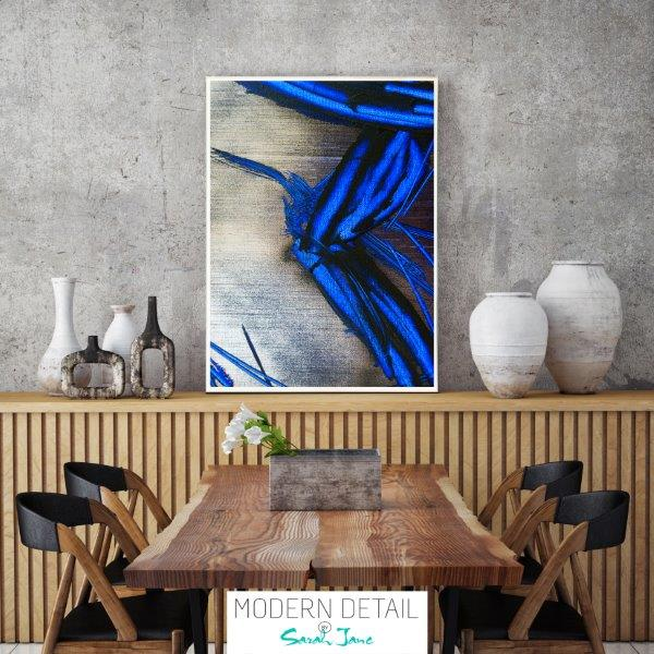 Modern Masculine Print for the dining room with blue colour tones By Sarah Jane - Faceless III
