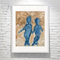 Small Framed Modern Painting of a mother and son in tan and Blue Titled Time on My Hands II By Australian Artist Sarah Jane