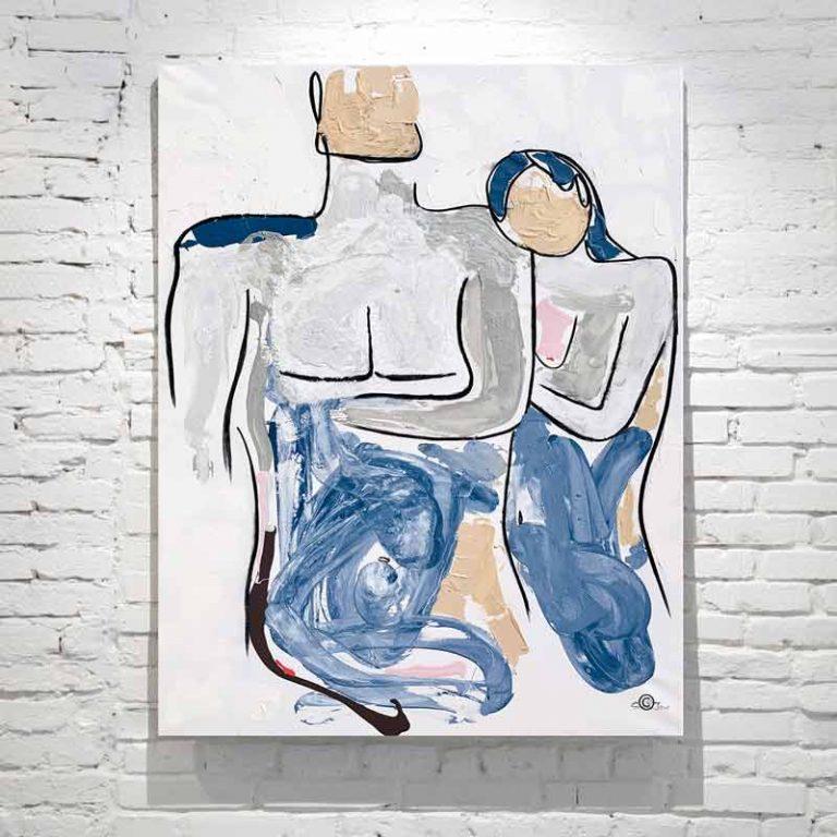 modern painting loving couple soft colours titled bodyline iv by australian artist sarah jane