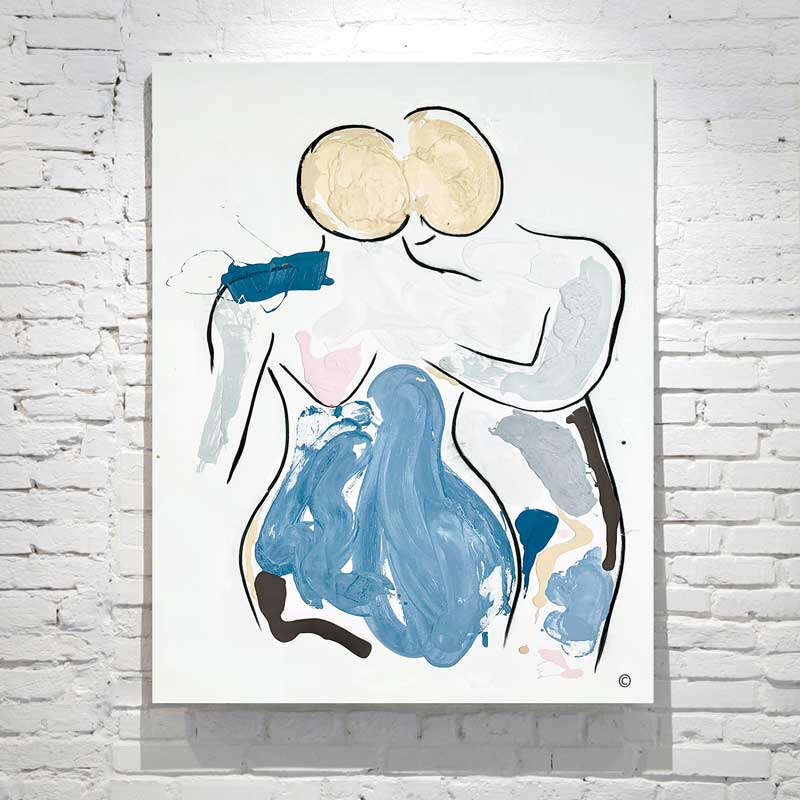 modern painting couple love - soft colours - titled bodyline vii - artist sarah jane