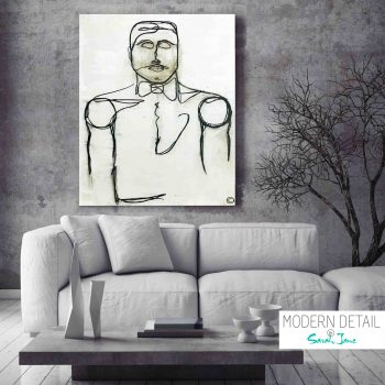 Modern Painting of a Gentleman by Artist Sarah Jane called Linear I - Modern Detail By Sarah Jane