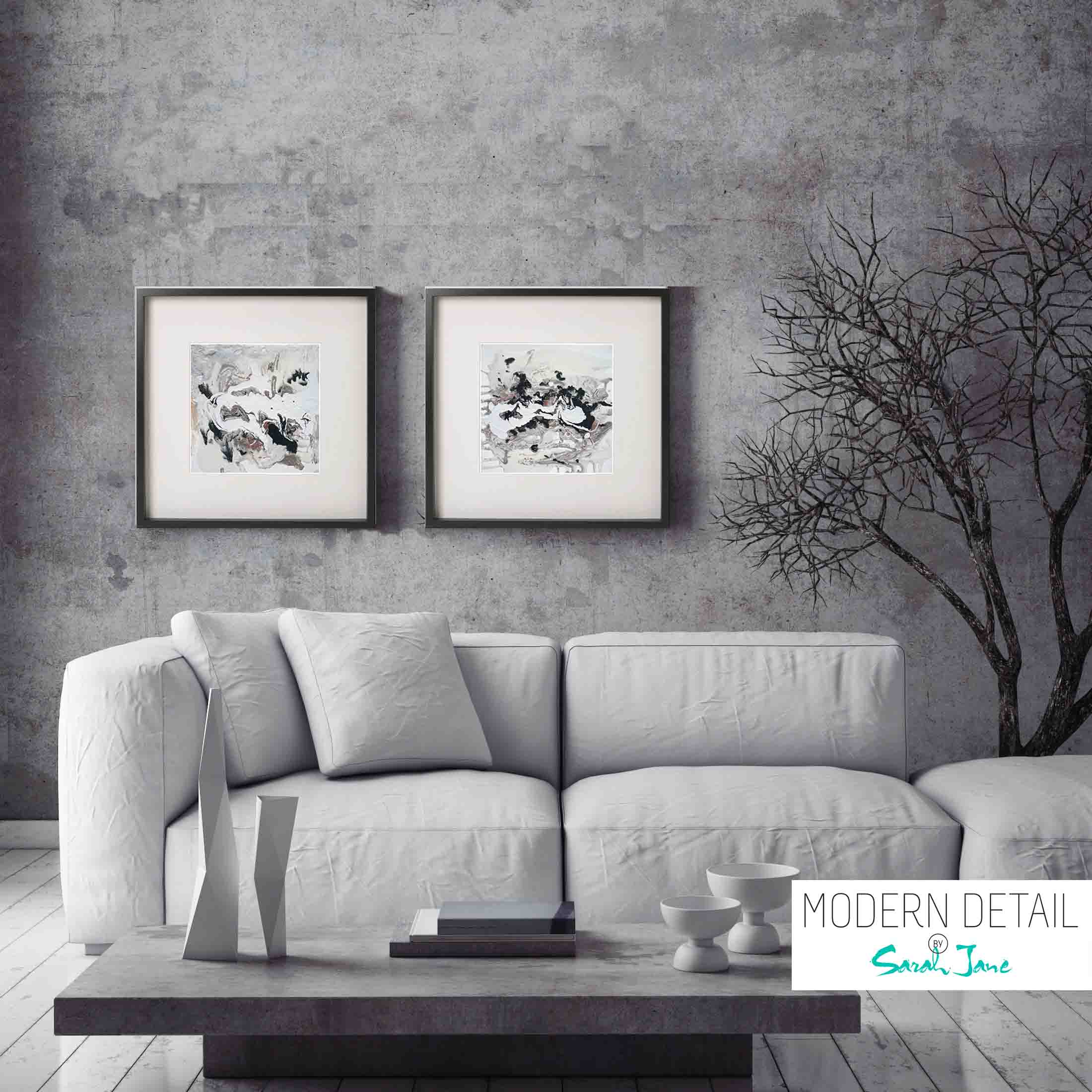 Sarah Jane 2018 Collection Nature I Modern Abstract Painting Neutral Colours In Black Shadowbox Frame Modern Detail By Sarah Jane