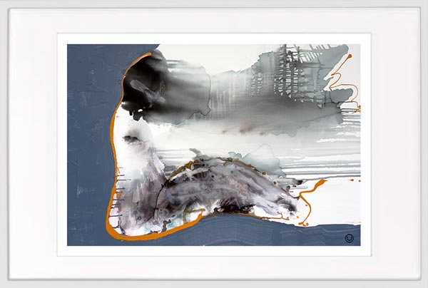 modern print abstract grey navy by sarah jane artist titled wind of change i in a white frame