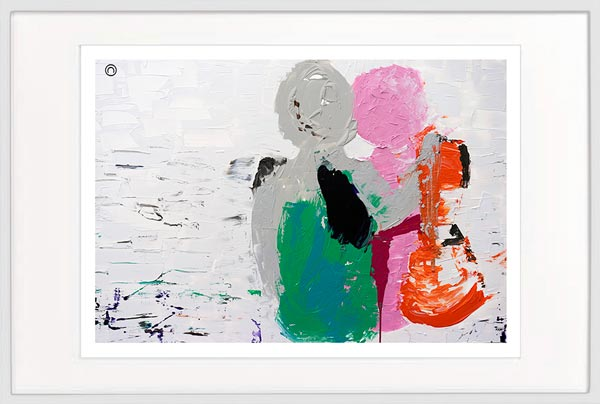 Modern Print Couple man arm around woman - Sarah Jane Artist - Relax I - White frame