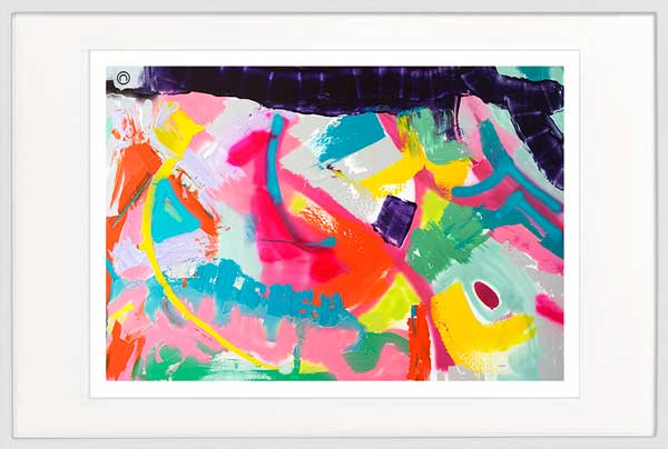 modern print bright bold colours by sarah jane artist titled colour me happy i in a white frame