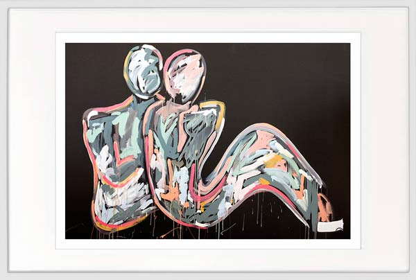 modern print couple bright colours by sarah jane artist titled lovers crush i in a white frame