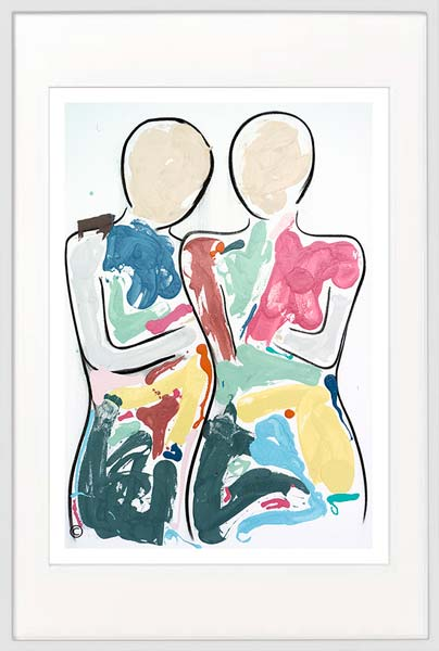 modern print couple colourful by sarah jane artist titled bodyline bold i in white frame