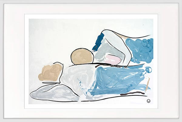 modern print couple lying down by sarah jane artist titled bodyline vi in a white frame
