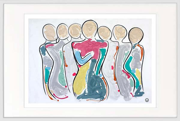 modern print family central woman colourful by sarah jane artist titled bodyline ii in white frame