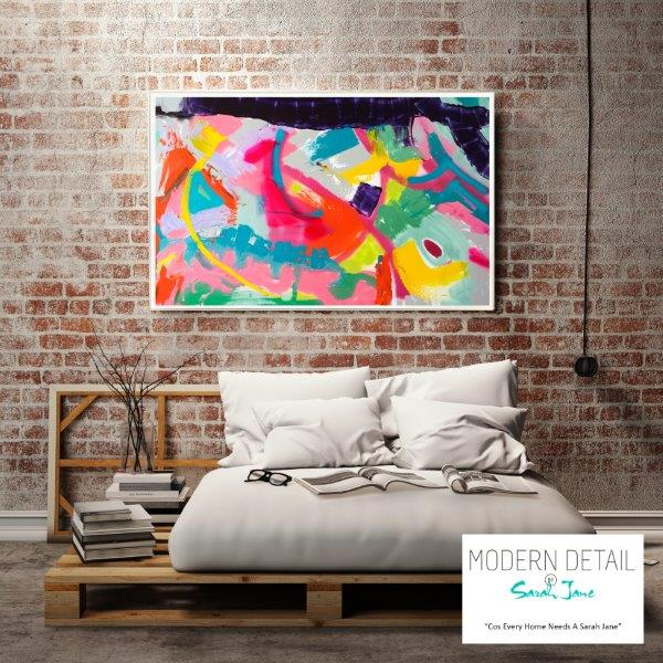 Modern Print for the bedroom with mixed colours By Sarah Jane - Colour me Happy I