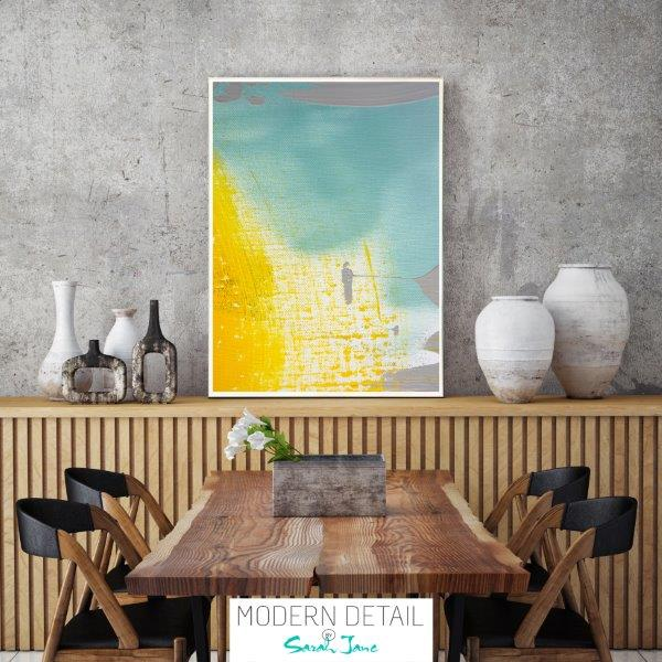 Modern Print for the dining room with blue and yellow colour tones By Sarah Jane - Colour me Happy VI