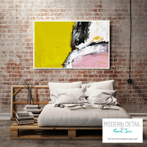 Modern Print in Yellow and Pink Tones for the bedroom By Sarah Jane - Cozzie VIIId