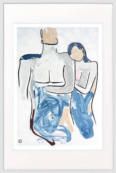 modern print of a loving couple by sarah jane artist titled bodyline iv in a white frame