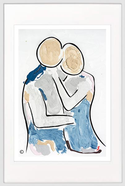 modern print man about to kiss a woman by sarah jane artist titled bodyline viii in a white frame