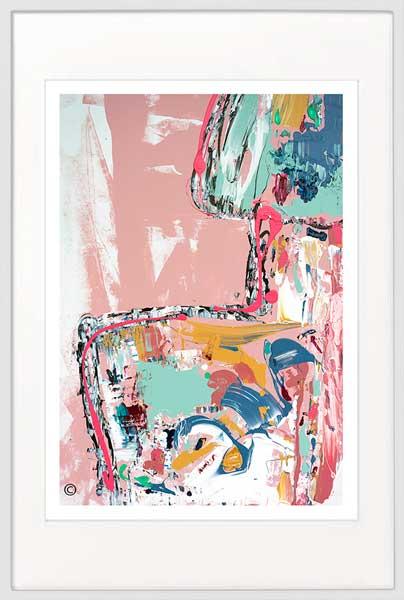 Modern Print mixed colours - Sarah Jane Artist - no nonsense i - White frame